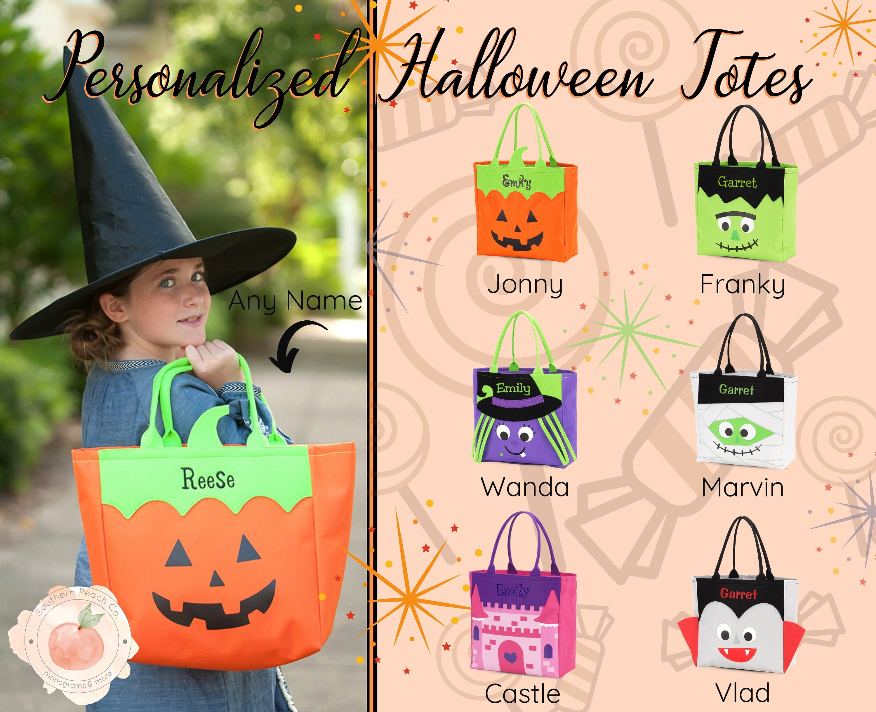 Halloween Trick Or Treat Bags Personalized.Halloween Trick Or Treat Bag Personalized Halloween Bag