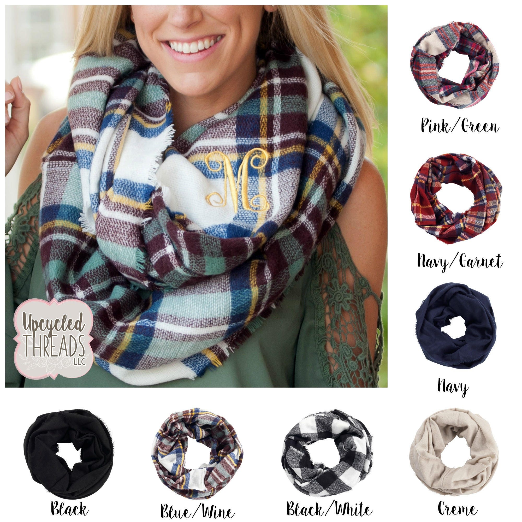 bf92f541c6bd9 Women's Monogrammed Infinity Scarf, Personalized Plaid Scarf