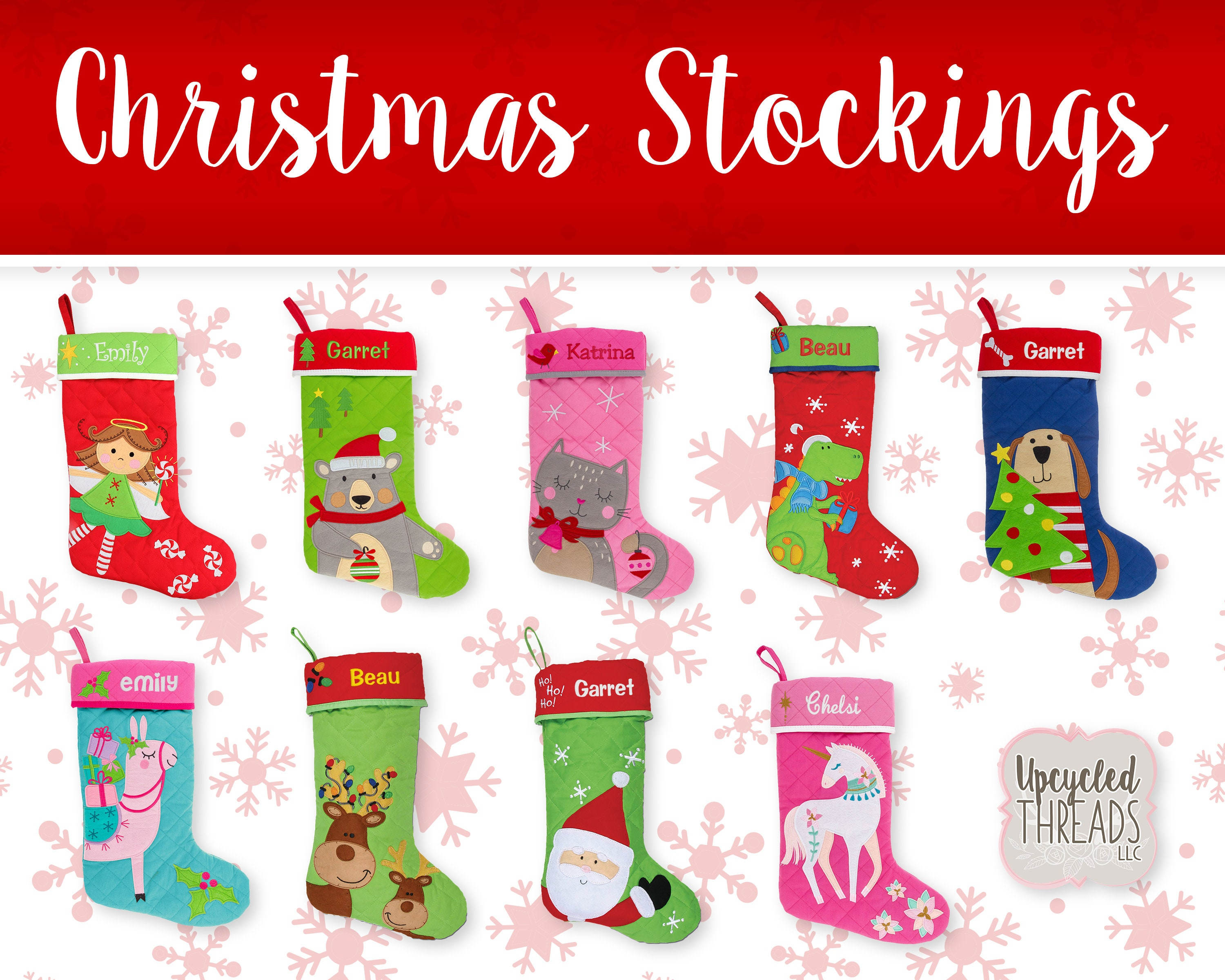 Monogrammed Kids Christmas Stockings Personalized Family