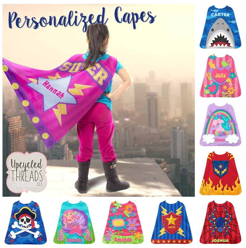 Personalized Cape, Kids Play Cape, Kids Cape, Youth Cape, Super hero,  Toddlers Cape, Children's Dress Up, Playtime Accessory, Stephen Joseph