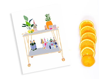 Kitchen wall ideas - drinks caddy illustrated - cute illustration for kitchen - printable home decor wall art illustrated - drinks cart