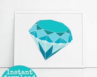 4x6 instant download blue diamond printable wall art, teal and blue gemstone, feminine wall decor desk art.
