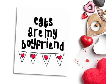 Cats are my boyfriend - printable wall art for cat lover - crazy cat lady gift ideas - black and red - cat themed home decor