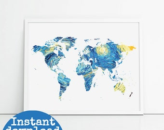 8x10 printable world map, starry night design. Yellow and blue art printable map, travel themed home decor instant download.