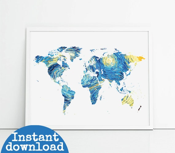 X Printable World Map Starry Night Design Yellow And Blue Etsy - 8x10 printable world map