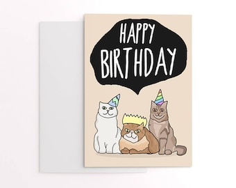 Birthday card from the cat - cats in party hats - cat greetings card - cute illustrated birthday card for cat lover.