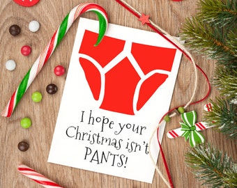 Funny Christmas card, I hope your Christmas isn't pants, underpants themed greetings card, card for Dad, card for boyfriend.