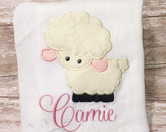 Beautiful Lamb shirt Embroidered personalized shirts for babies and children 0/3 month- Youth XL, Little lamb shirt
