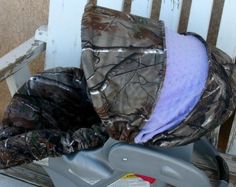 Pink Realtree Camo With Brown Minky Car Seat Cover And