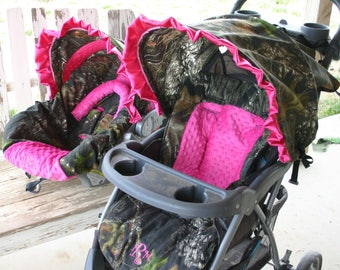 Carseat And Stroller Not Included Mossy Oak Pink Car Seat COVER Hood With Matching Cushion