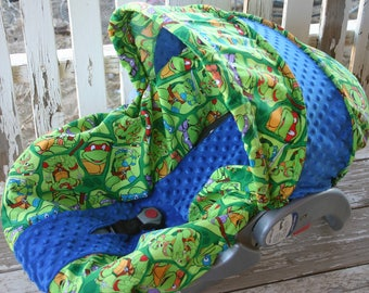Teenage Mutant Ninja Turtles With Royal Blue Minky Infant Car Seat Cover And Hood Optional Headsupport Strap Covers