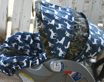 Navy Blue With White Deeres Mossy Oak Camo Infant Car Seat Cover And Hood