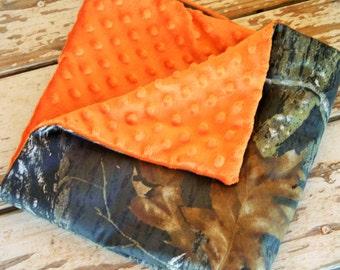 baby blanket 20x20 realtree or mossy oak Camo and orange minky