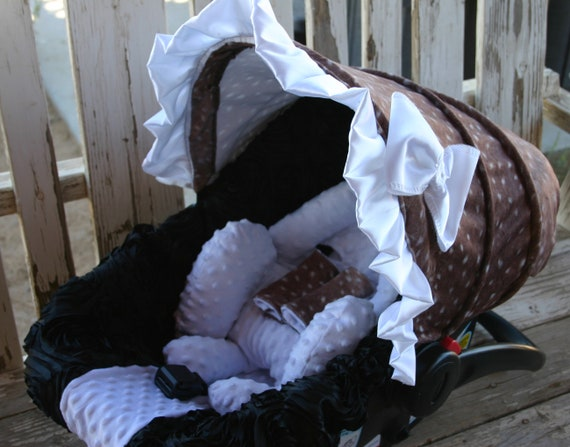 baby car seat cover and hood cover in deer hide minky ans black 3d roses