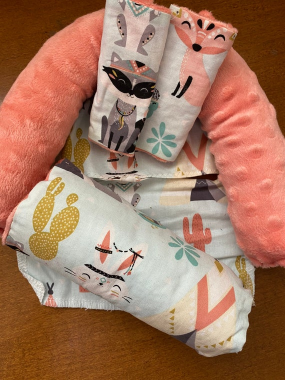 READY TO SHIP 3 piece set woodland animals with coral Minky infant head support, strap covers and handle cushion