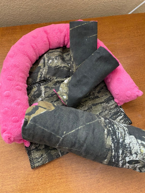 READY TO SHIP 3 piece set mossy oak with pink Minky infant head support, strap covers and handle cushion
