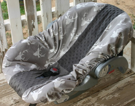 gray with white buck heads and gray minky infant car seat base cover only
