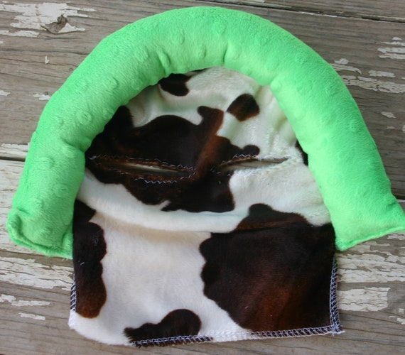baby headsupport and/or strap covers Brown and tan cow print with lime green minky