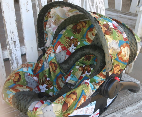 Zoo animals and brown minky infant car seat cover and hood cover with optional headsupport and strap covers