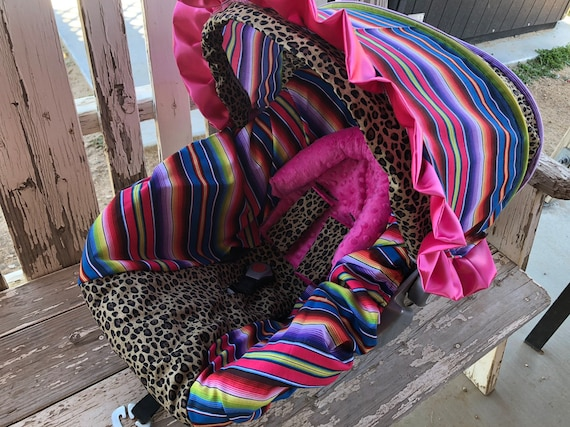 Serape with leopard/cheetah infant car seat cover and/or hood cover with optinal headsupport and/or strap covers