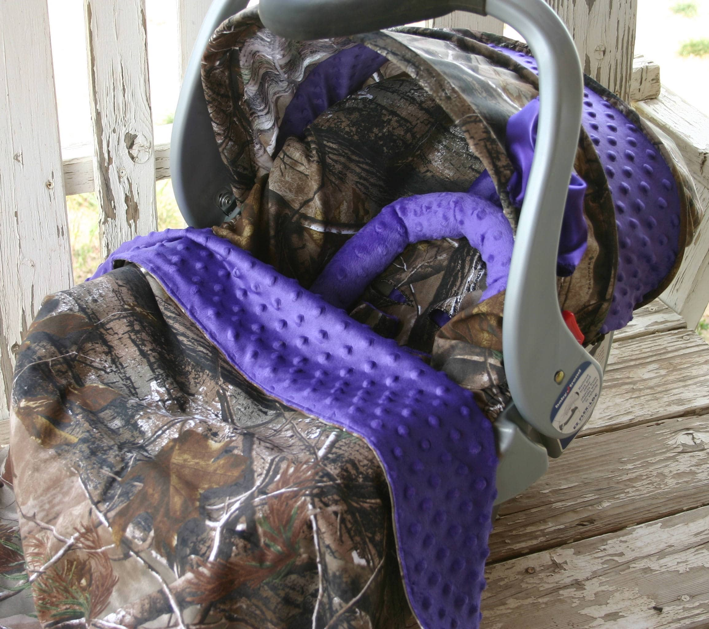 infant car seat cover and hood cover mossy oak with purple minky