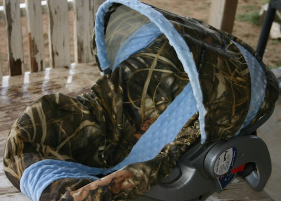 infant//toddler seat strap covers in realtree max 4 and orange minky