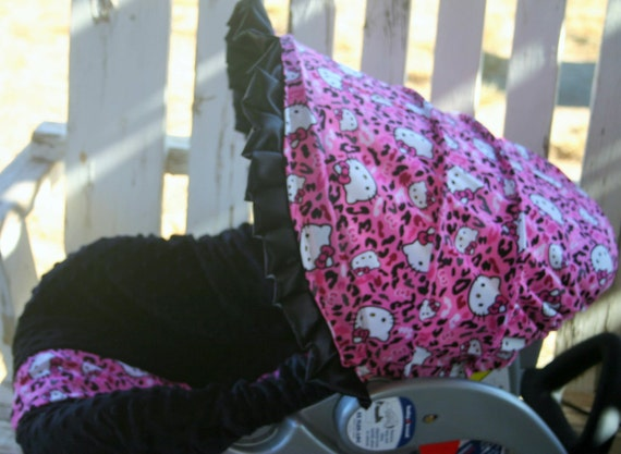 Hello Kitty And Black Minky Infant Car Seat Cover Hood
