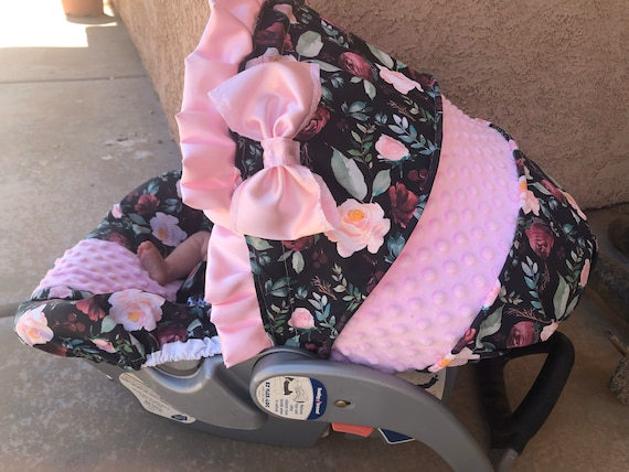 baby car seat cover and hood cover in black floral with baby pink and gold