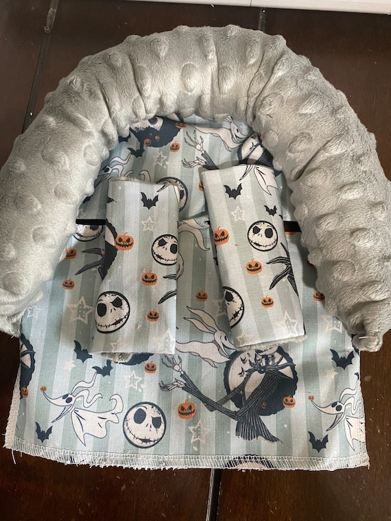 Nightmare before Christmas and gray minky infant head support and/or strap covers