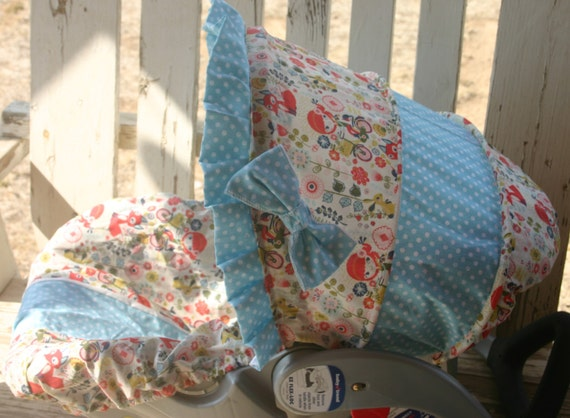 baby car seat cover and hood bike girls cotton fabric with aqua and white polka dots