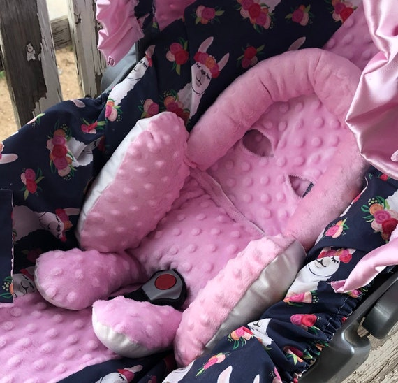baby large full body headsupport and/or strap covers All baby pink minky