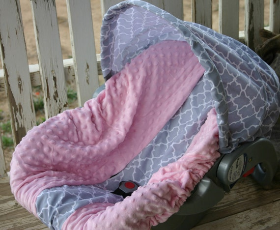 infant car seat Cover and hood cover tan and brown giraffe and pink