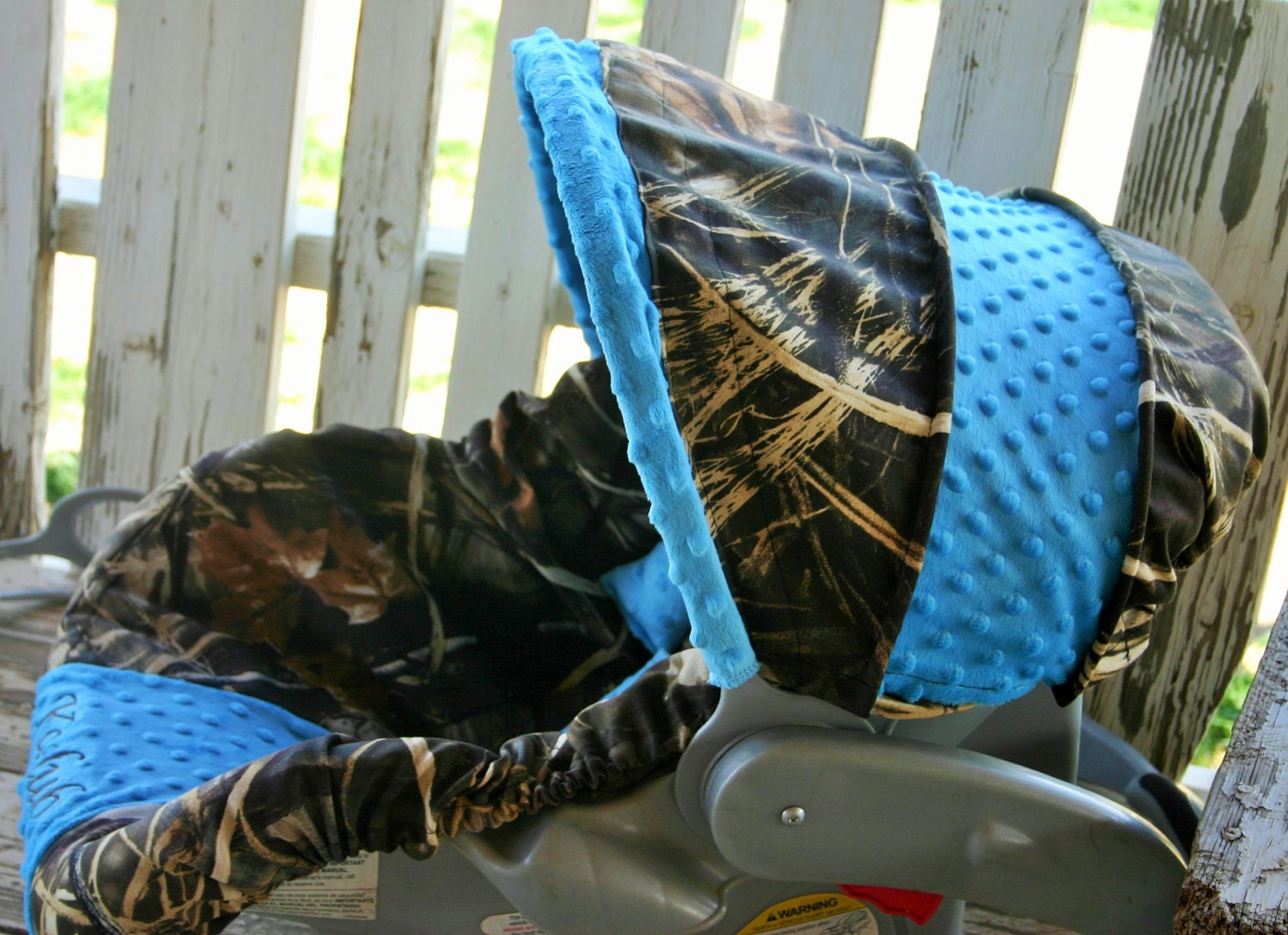 Realtree Max 4 W Teal Minky Car Seat Cover And Hood Cover