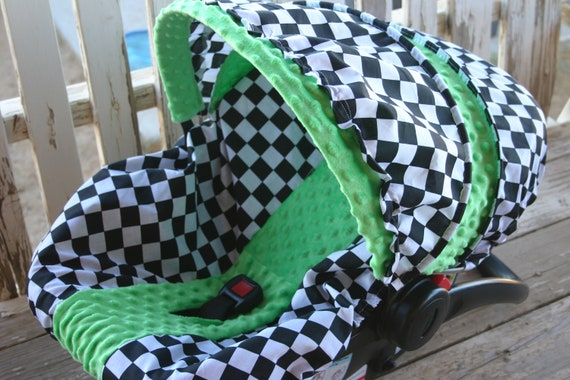 baby car seat cover and hood cover black and white checkered w/ lime green minky