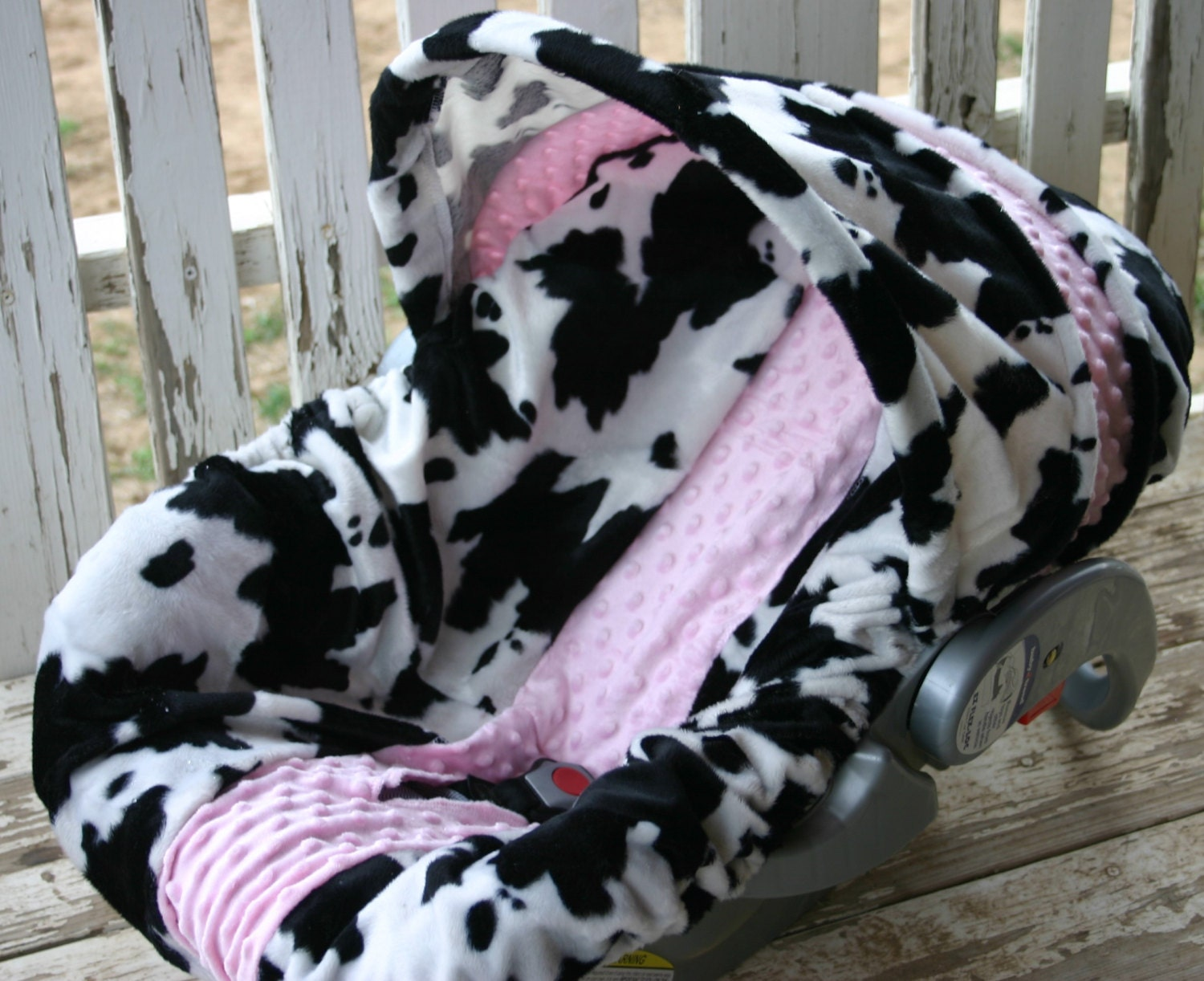 Black And White Cow Print With Baby Pink Minky Car Seat