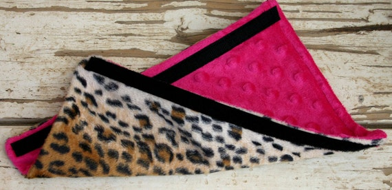 One leopard/cheetah and pink minky child or  adult seat belt cover