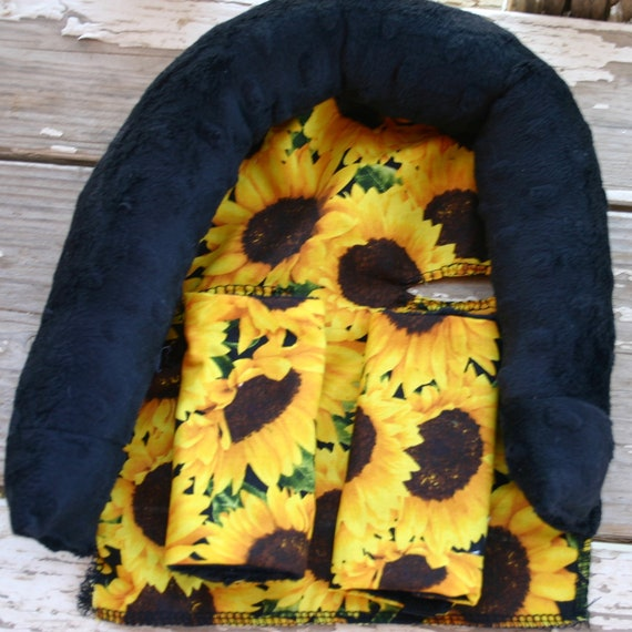 Sunflowers with black minky infant headsupport and/or strap covers and/or handle cushion