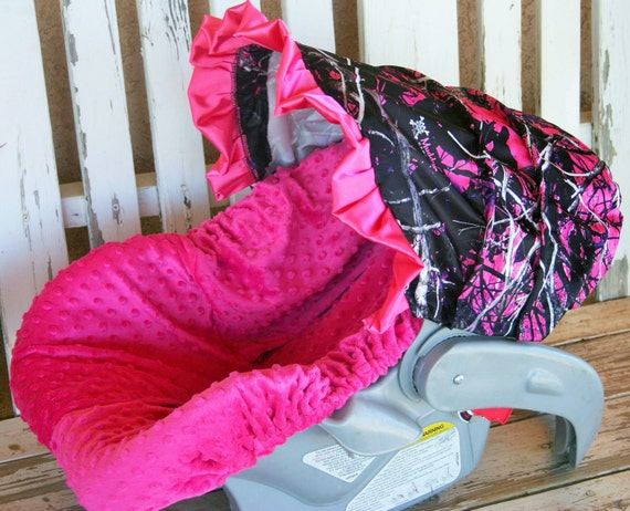 infant car seat cover and mossy oak and pink minky pink satin bow baby girl