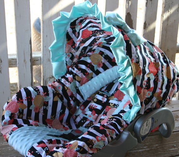 baby car seat cover and hood cover black and white stripe w/ coral and aqua flowers