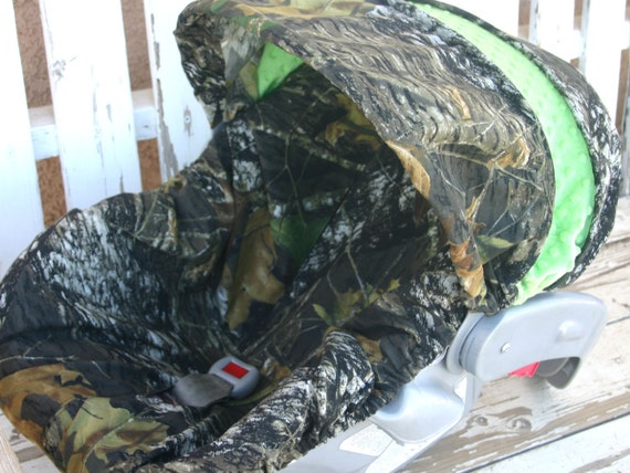 baby infant car seat cover and hood cover Mossy oak camo and lime green minky