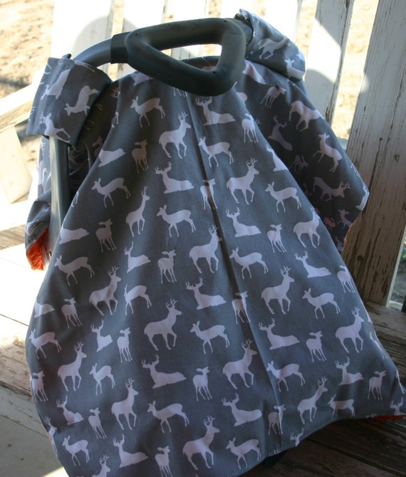 READY TO SHIP gray and white deers with orange minky canopy cover with or without opening