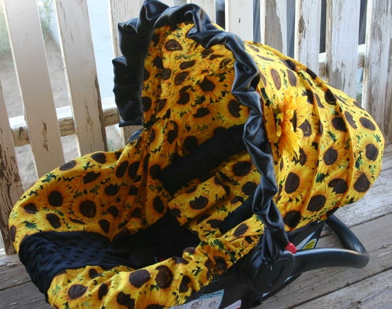 Sunflowers with black minky infant car seat cover and/or hood cover with optional headsupport and strap covers