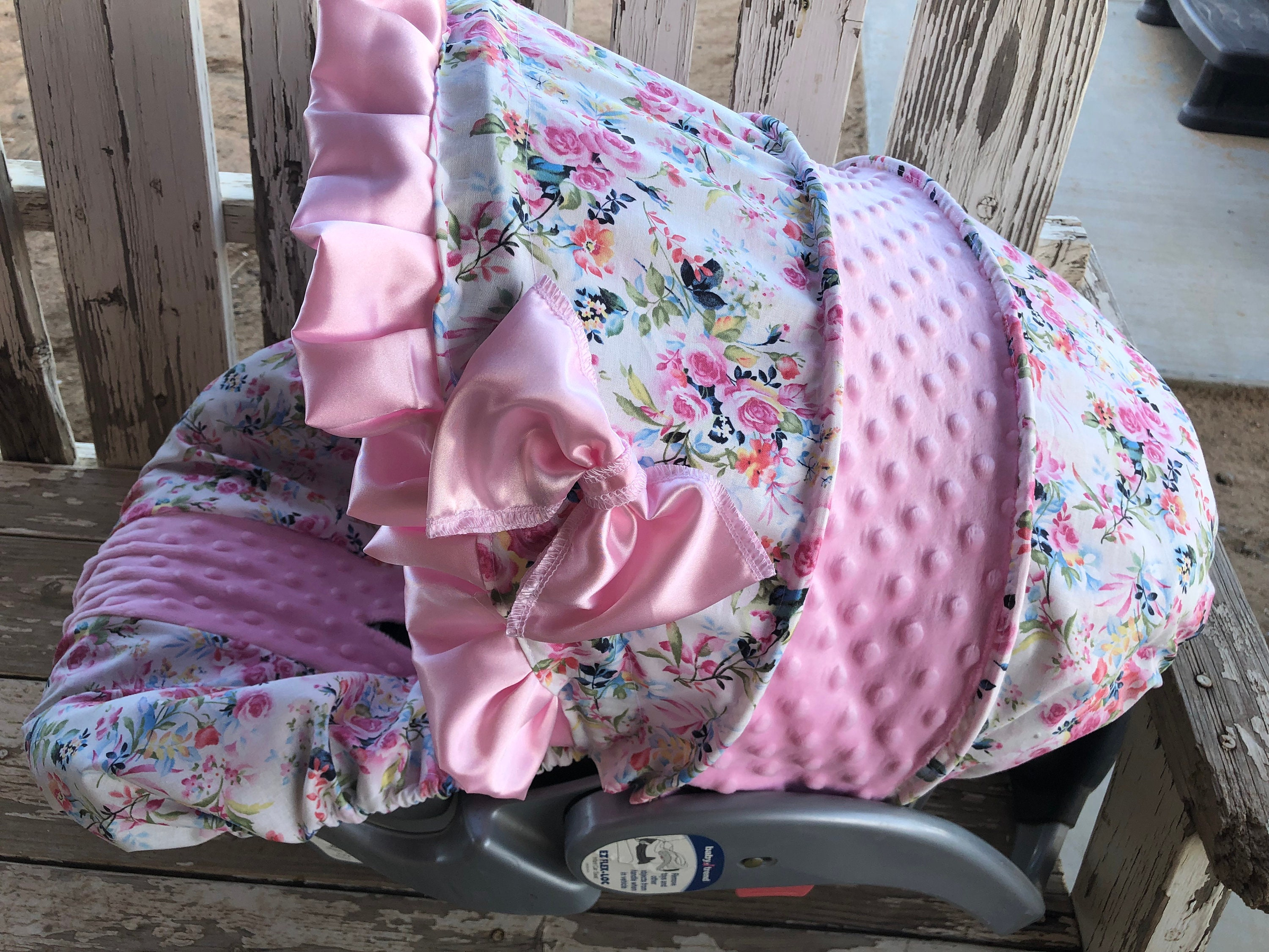 Prime Watercolor Floral With Baby Pink Minky Infant Car Seat Cover And Hood Cover With Satin Ruffle With Optional Headsupport And Strap Covers Pabps2019 Chair Design Images Pabps2019Com