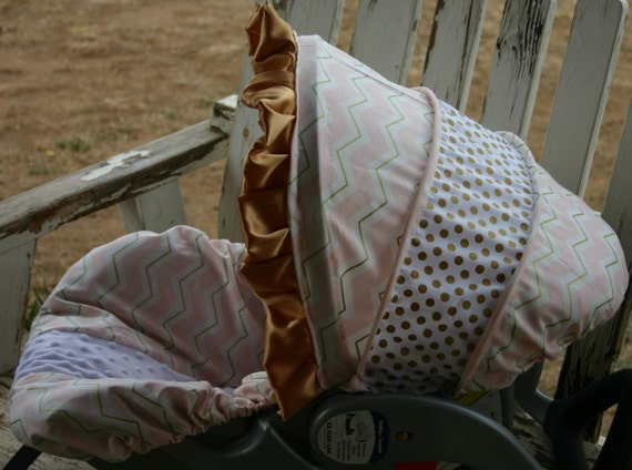 light pink with gold chevron w/ gold polka dots infant car seat cover and hood cover w/ gold satin ruffle w/ optional headsupport and straps