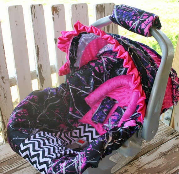 pink muddy girl camo w/black chevron infant car seat cover and hood cover w/optional headsupport and strap covers and handle cushion