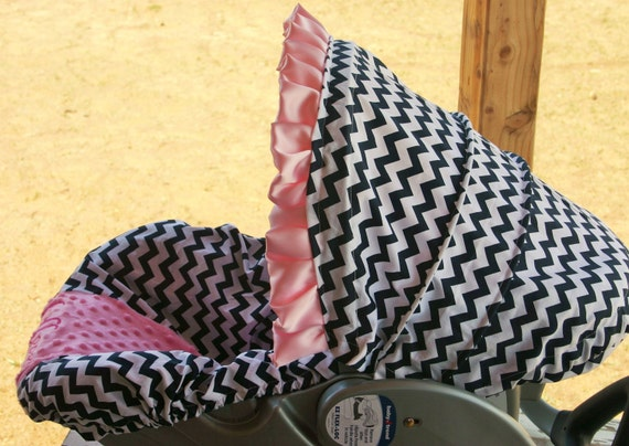 baby infant car seat cover and hood cover gray quatrafoil w// baby pink minky