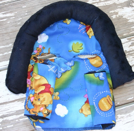 Winnie the pooh and friends and black minky infant head support and/or strap covers