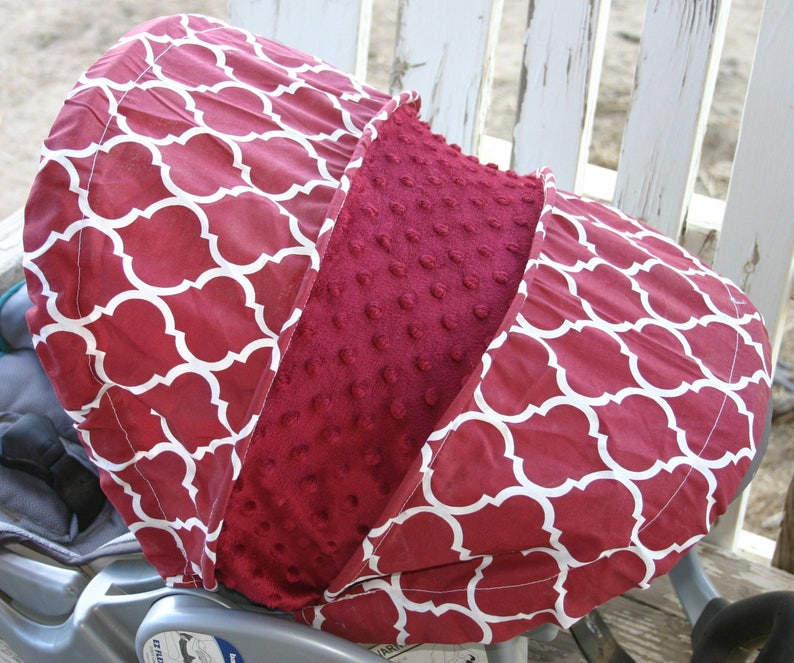 READY TO SHIP Maroon and white quatrafoil with maroon minky infant car seat hood for baby trend infant car seat