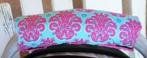teal and pink damask with pink minky infant car seat padded handle cushion