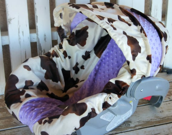 baby Car seat cover and hood cover Brown and tan cow print with light purple minky